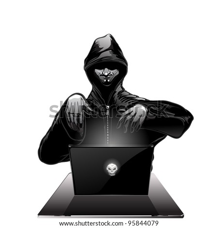 black and white isolated conceptual illustration hacker working on laptop with skull on cover - stock vector