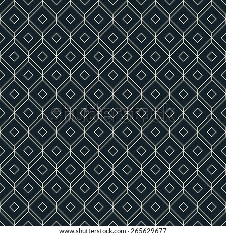 black and white isometric grid background. seamless vector pattern, each detail in separate layer. - stock vector
