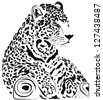 Black and white jaguar vector - stock vector