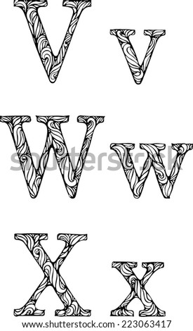 black and white letters V W X  with curly pattern - stock vector