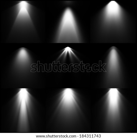 Black and white light sources. Vector set - stock vector