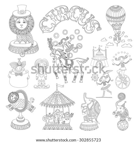 black and white line art drawings collection of circus theme, you can use like coloring book for adults, vector illustration - stock vector