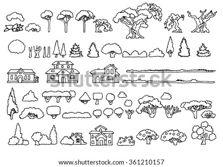 Black and white line drawing.Landscape elements vector set.Hand drawn isolated sketchy trees,bushes and houses.Doodle set of cartoon houses and trees.Tree and house illustration, countryside - stock vector