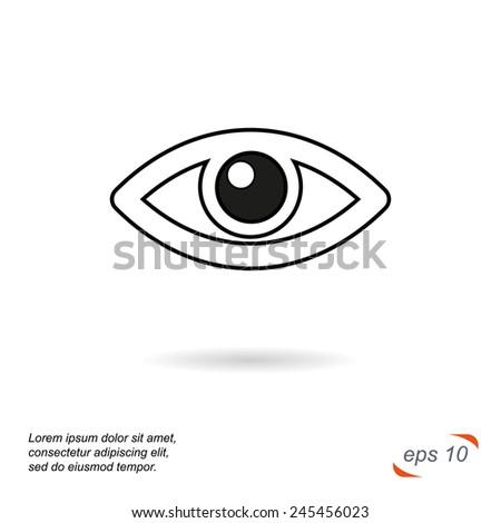 Black and white line vector icon. Eye - stock vector