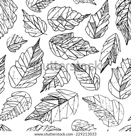 Black and white lineart geometric leaves seamless pattern - stock vector