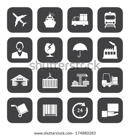 Black and White Logistics icons vector EPS10 - stock vector