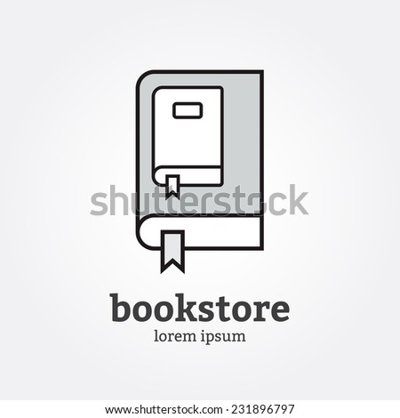 Black and white logo bookstore of fine lines - stock vector