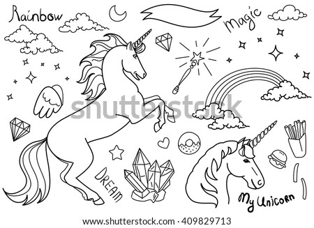 Black and White Magic collection with unicorns, rainbow, stars and crystals  - stock vector