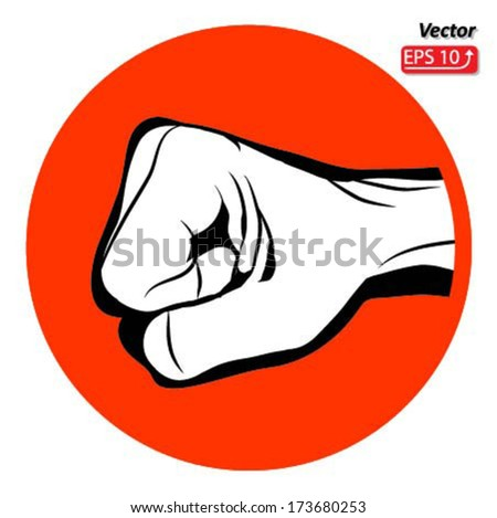Black and white Man hand sign Hand with clenched a fist on red circle , isolated on white background vector - stock vector