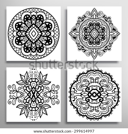 Black and white Mandala collection. Vector Round Ornament Lace Pattern. Vintage decorative elements. Islam Arabic Indian motifs - stock vector