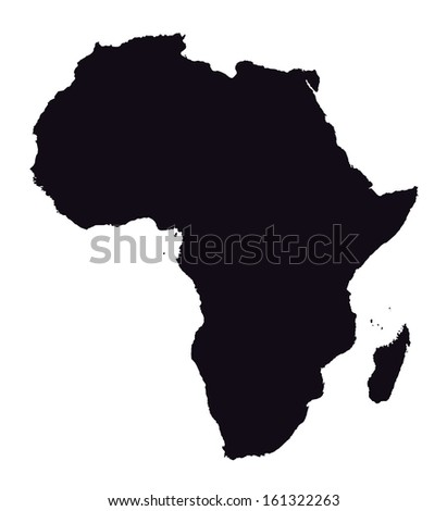 black and white map of Africa - stock vector
