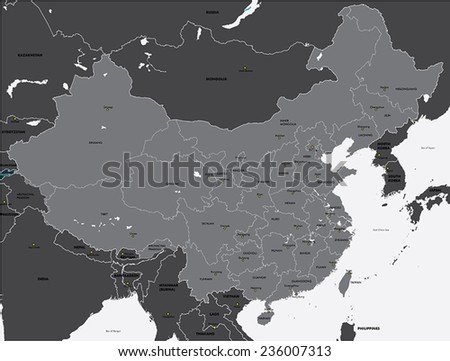 Black and white map of China - stock vector