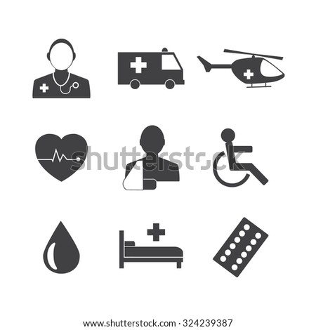 Black and White Medical Icons Collection Vector icon set. EPS 10 - stock vector