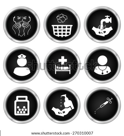 Black and white medical related icon set isolated on white background - stock vector