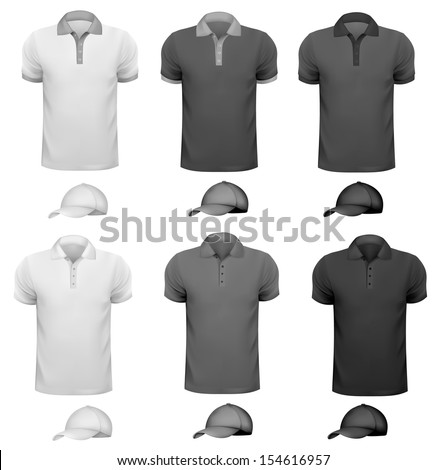 Black and white men t-shirt and cup. Design template. Vector illustration  - stock vector