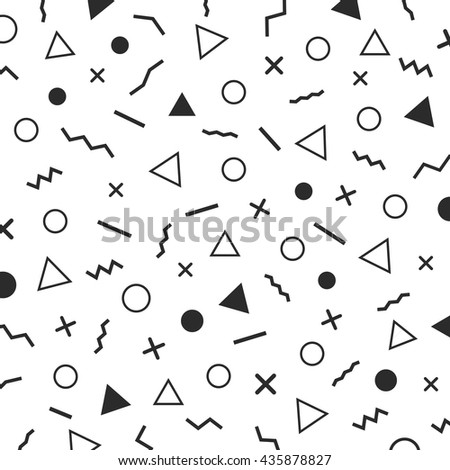 black and white minimal background, the era 80's - 90's years memphis design, isolated on white background - stock vector