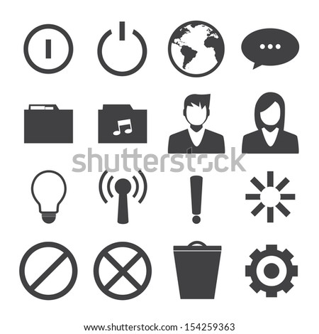 Black and White mobile phone icons connection set - stock vector