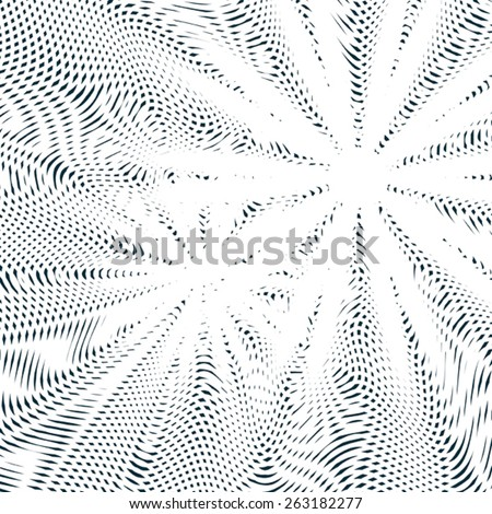 Black and white moire lines, striped  psychedelic background.  Op art style contrast pattern. - stock vector