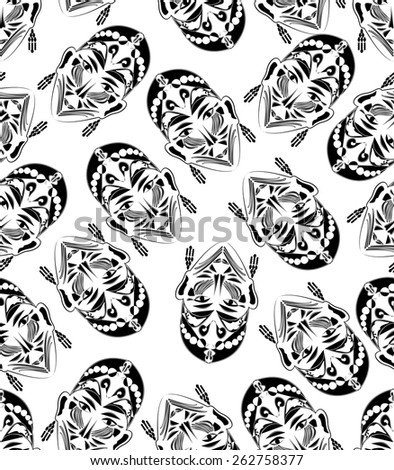 Black and white monochromatic seamless tile with women face mask in exotic style ornament - stock vector