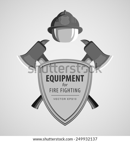 Black and white monochrome vector illustration, icon. Firefighter Emblem or volunteer. Shield, ax, fireman helmet. Element for the magnet on the fridge or print for a T-shirt. - stock vector