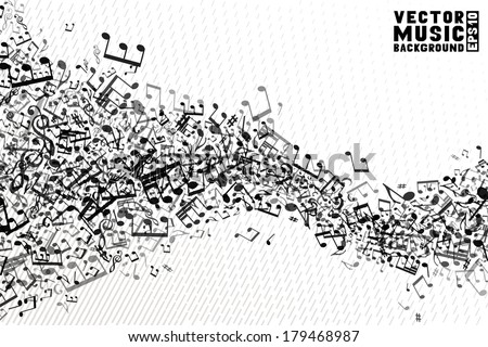 Black and white music background. Set of  music elements on white background. Music abstract wave of notes and treble clefs. EPS 10.  - stock vector