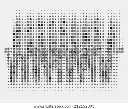 Black and white music round waveform background. Halftone vector sound waves. You can use in club, radio, pub, party, DJ, concerts, recitals or the audio technology advertising background.  - stock vector