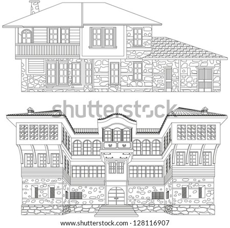 black and white old houses - stock vector