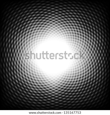 Black and white optical illusion background, vector. - stock vector