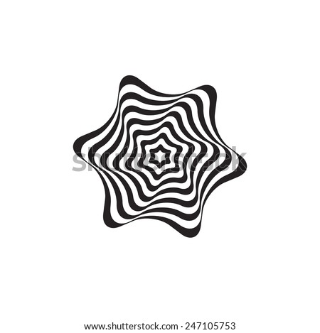 black and white optical illusion star - stock vector
