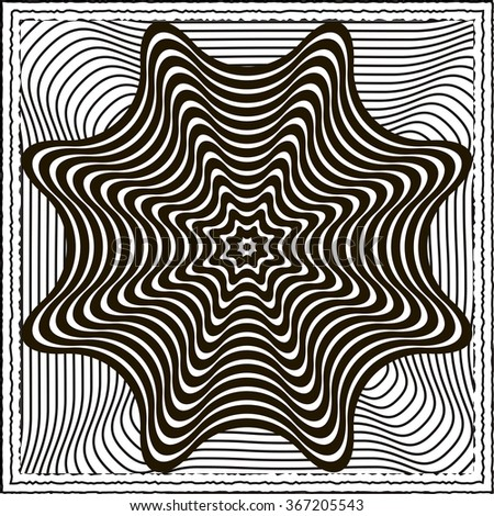 Black and white optical illusion vector background - stock vector