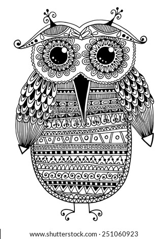 black and white original ethnic owl ink drawing, vector illustration - stock vector