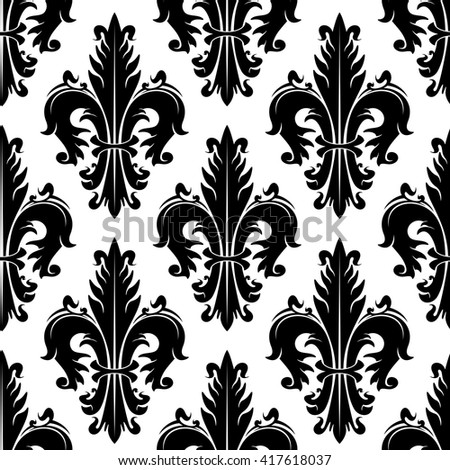 Black and white ornamental fleur-de-lis background for heraldry theme or vintage interior design with seamless pattern of fluffy spiky leaves with swirls - stock vector