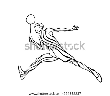 Black and white outline professional badminton player. Silhouette of abstract badminton player doing smash shot. Vector illustration  - stock vector