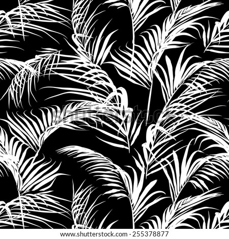 black and white palm leaves pattern, seamless swatch element included - stock vector