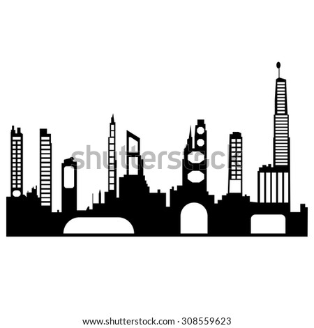 Black and white panorama cities. Vector art - stock vector