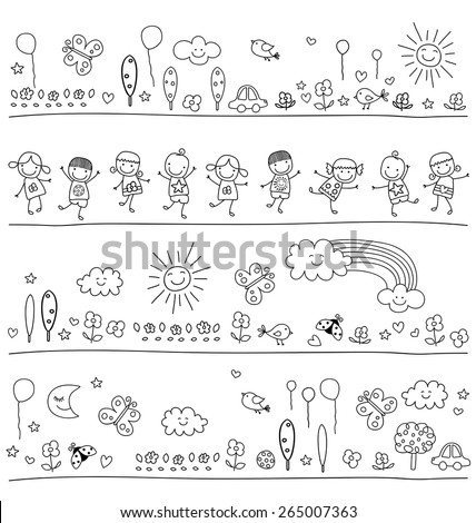 black and white pattern for children with cute nature elements, child like drawing style - stock vector