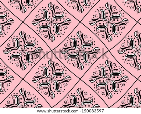 Black and white pattern like rhomb on pink background - stock vector