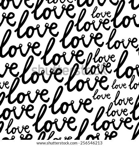 black and white  pattern with love text - stock vector