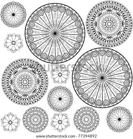 Black and white patterns - stock vector