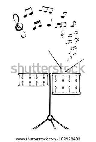 Black and white picture of two drums with notes. - stock vector