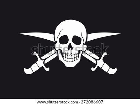 black and white pirate flag Jolly Roger with skull and swords - stock vector