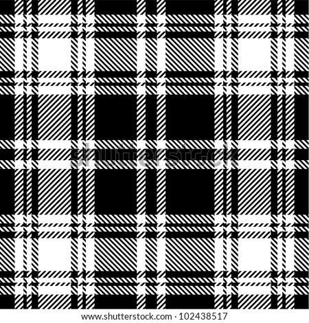 Black and white plaid pattern - stock vector