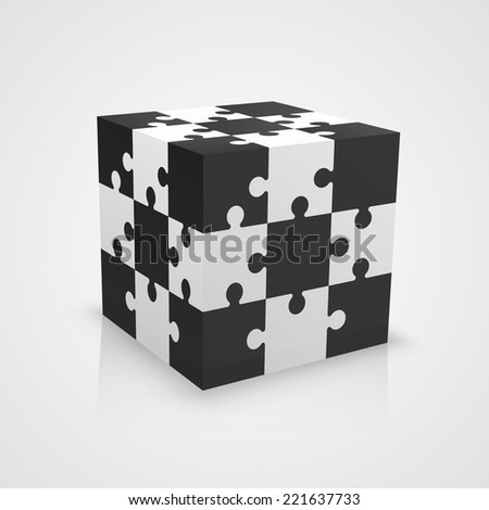 Black and white puzzle cube - stock vector