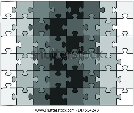 Black and white puzzle-vector illustration for design - stock vector