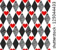 Black and White, Red Love Valentin's Day, harlequin seamless background with rhombus and hearts - stock vector