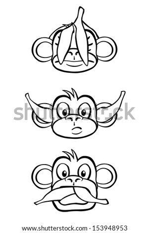 Black and white rendition of the three wise monkeys. - stock vector