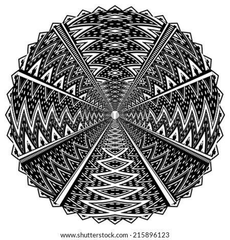 Black and white round ornament - stock vector
