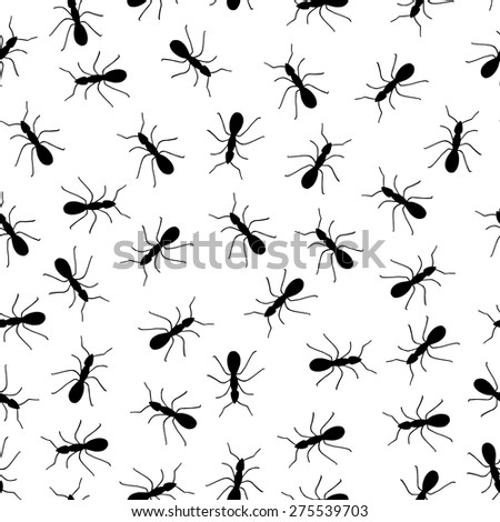 Black and white running ants seamless pattern - stock vector