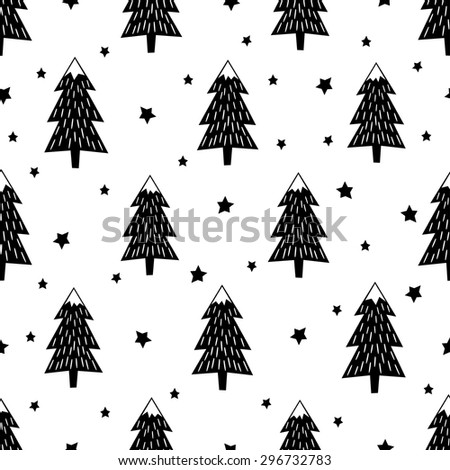 Black and white seamless Christmas pattern - varied Xmas trees, stars and snowflakes. Happy New Year background. Vector design for winter holidays. Child drawing style trees. - stock vector