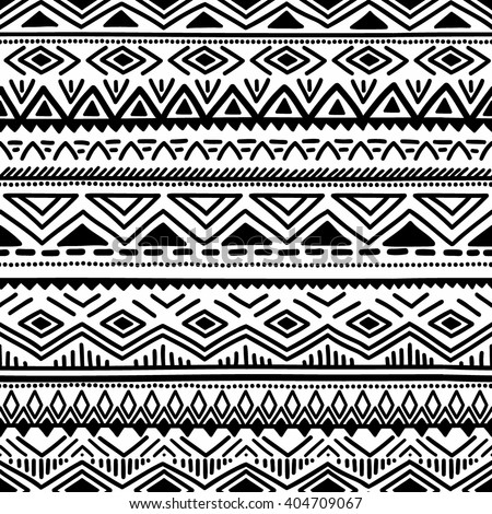 Black and white seamless ethnic background. Vector illustration. Drawing by hand. - stock vector